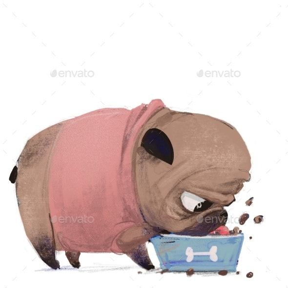 Cute Lovely Little Pug in Pink Sweater Eat - Animals Illustrations