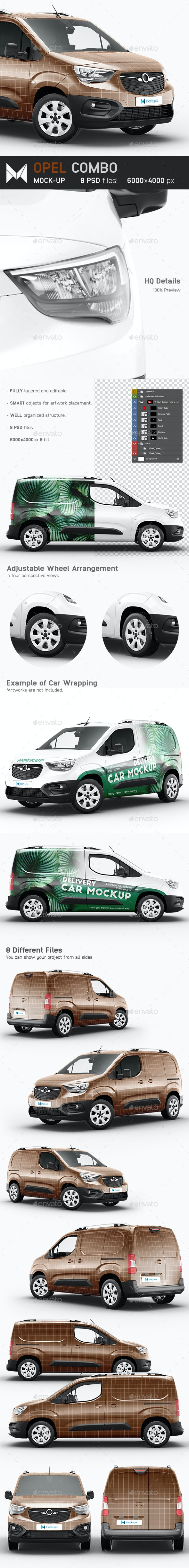 Opel Combo Delivery Car Mockup - Vehicle Wraps Print