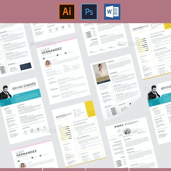 5 Themes Resume Pack Design