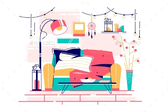 Sweet Home Place to Read of Comfortable Furniture - Objects Vectors