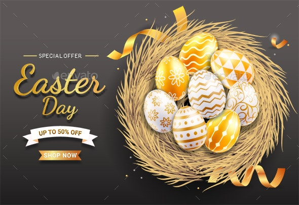 Happy Easter Day Easter Eggs on Egg Nest - Backgrounds Decorative