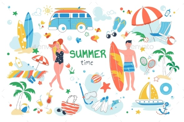Summer Time Set Isolated Elements - Objects Vectors