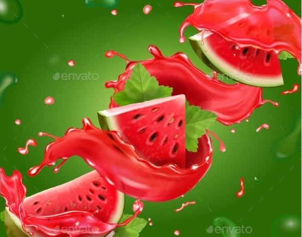 Watermelon Juice on Green Background - Food Objects