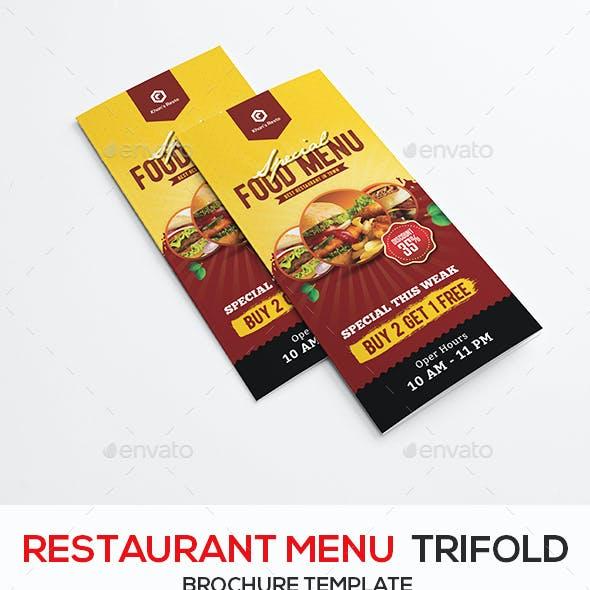 Restaurant Trifold Menu Brochure