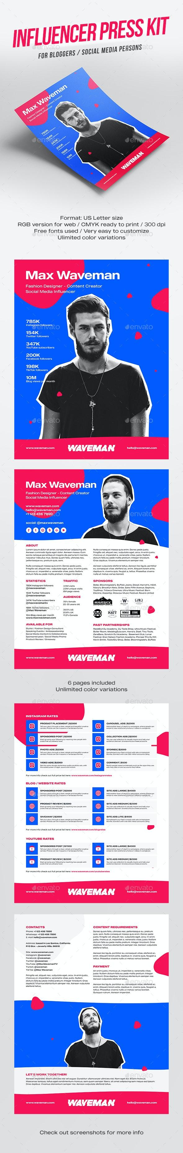 Influencer Press Kit Template for Social Media Marketing - Resumes Stationery