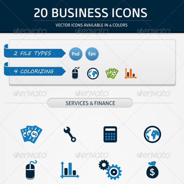 20 BUSINESS ICONS IN 4 COLORS