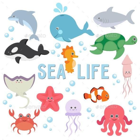 Sea life underwater world - Animals Characters