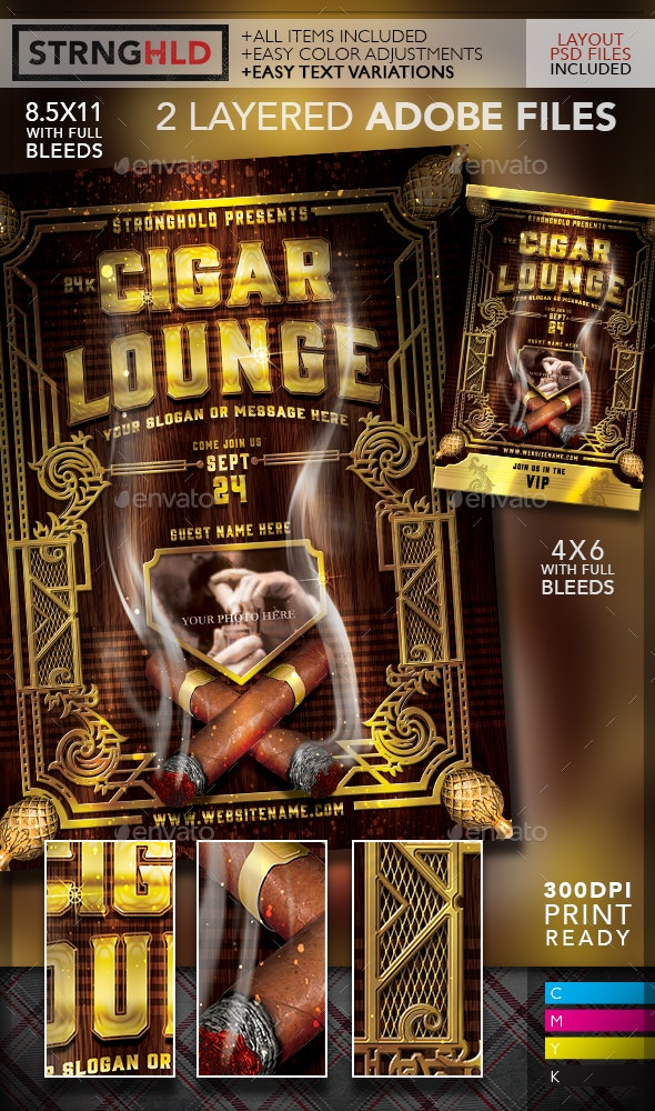 Vintage Cigar Lounge Flyer Template - Events Flyers