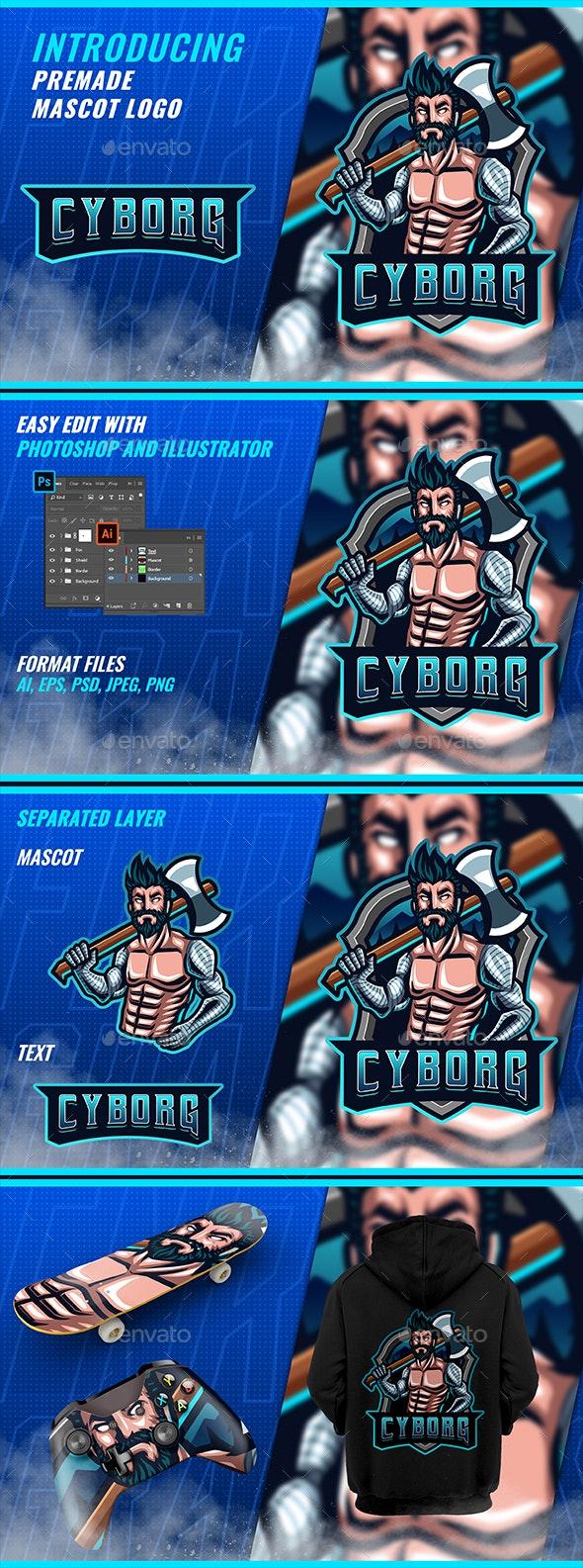 Robotic Cyborg Lumberjack - Mascot Esport Logo - Humans Logo Templates