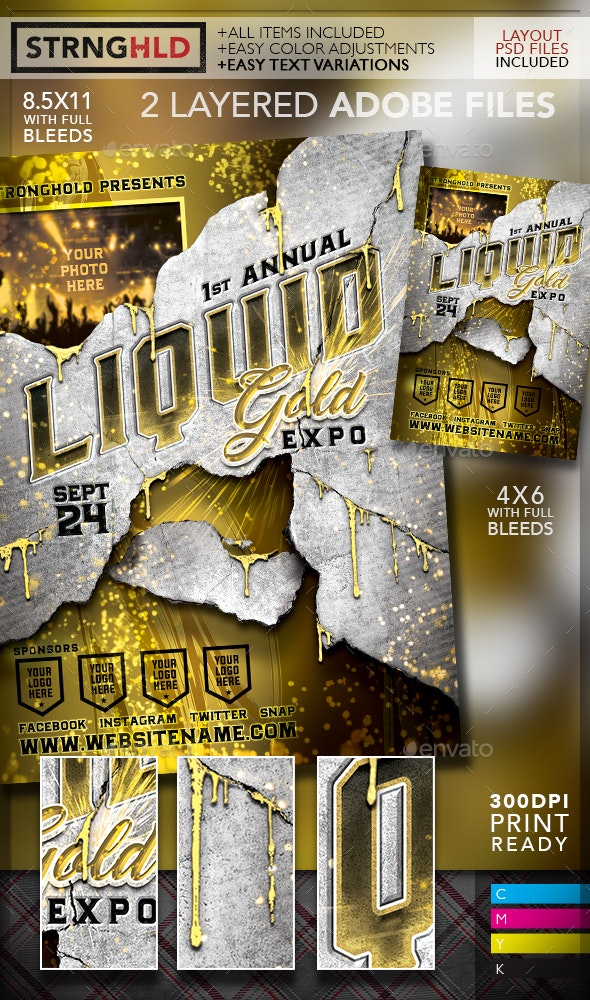 Liquid Gold Expo Event Flyer Template - Events Flyers
