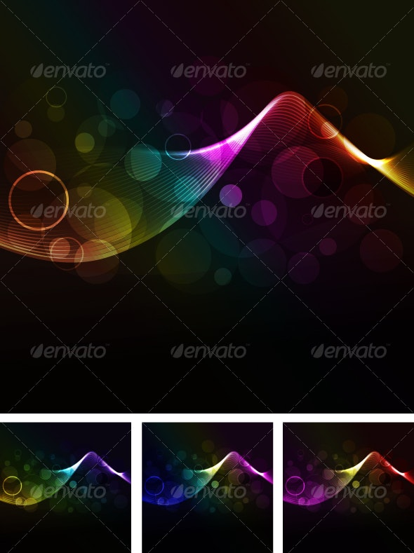 abstract wave background with glowing dots - Web Technology
