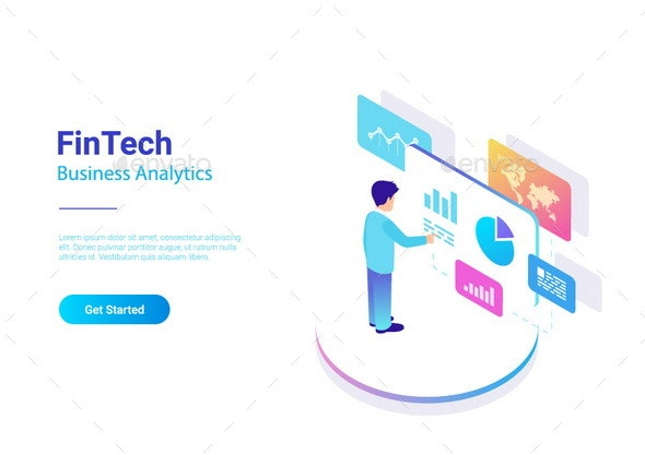 Man Business Analyse Data Market in Virtual space isometric flat vector illustration. - Business Conceptual