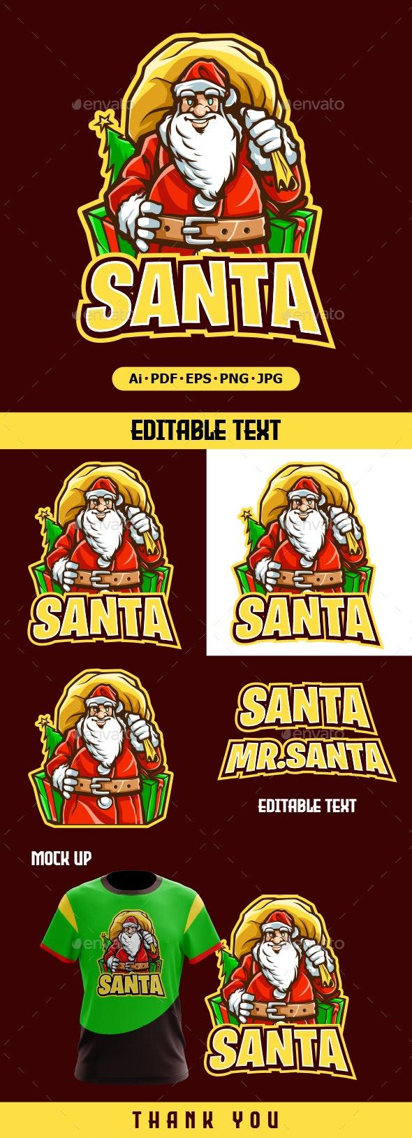 Santa mascot logo cartoon - Humans Logo Templates