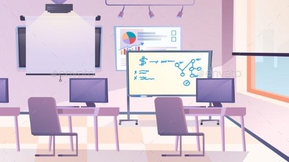 Classroom Interior Landing Page Flat Cartoon Style - Miscellaneous Vectors