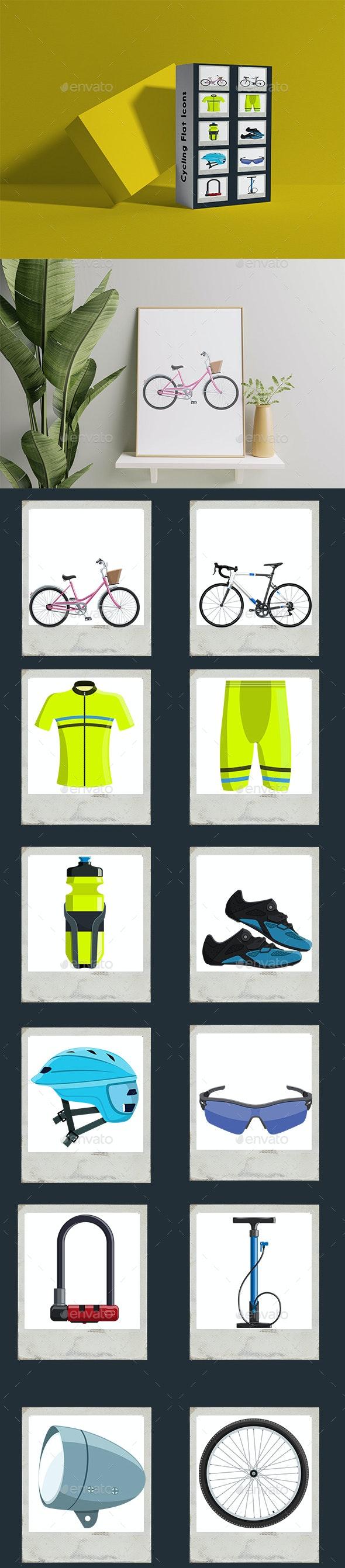 Cycling Elements  Flat Icons - Miscellaneous Vectors