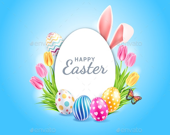 Happy Easter Day Template Design - Backgrounds Decorative