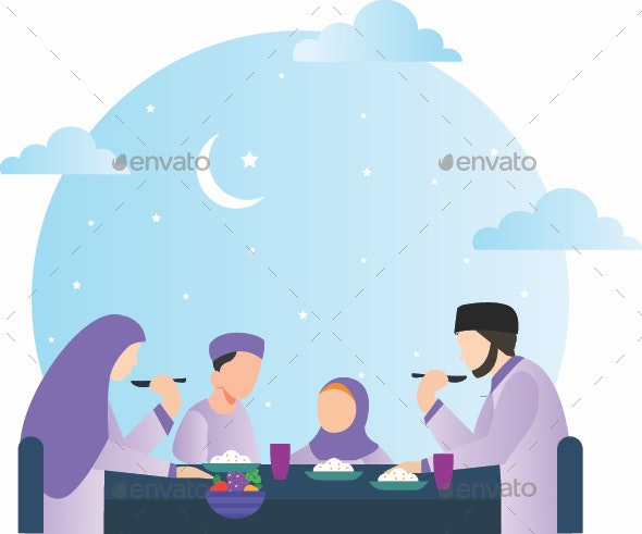 Muslim Family Eating at Home. - People Characters