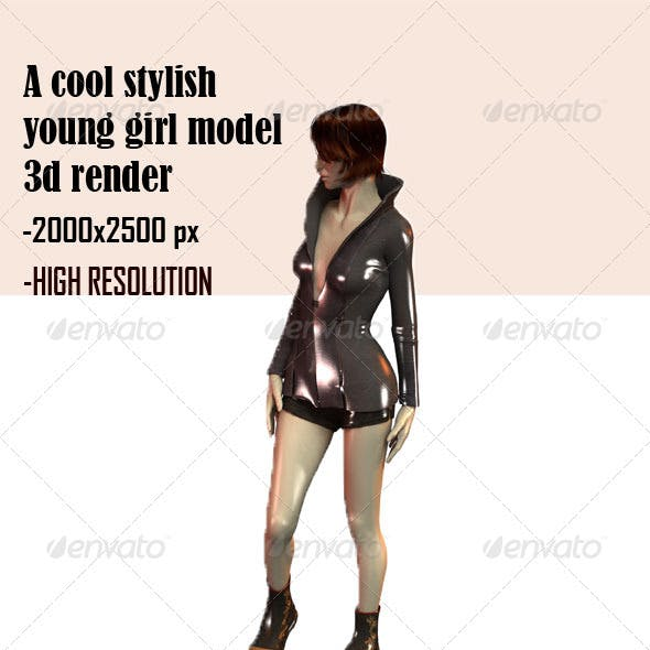 A Stylish Young Girl Model 3D Render