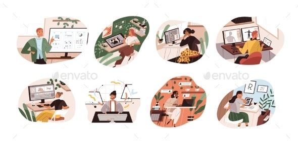 Creative Workers Working at Home and Office - People Characters