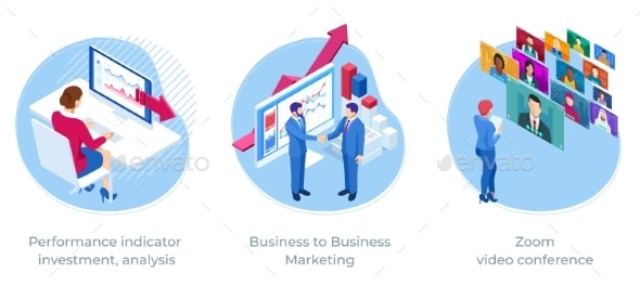 Isometric Web Business Concept of Finance - Business Conceptual
