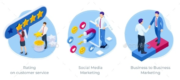 Isometric Rating on Customer Service Social Media - Business Conceptual