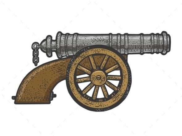 Vintage Old Cannon Sketch Vector Illustration - Miscellaneous Vectors