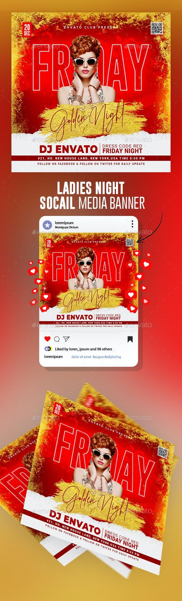 Ladies Club Night Flyer Template Banner - Social Media Web Elements