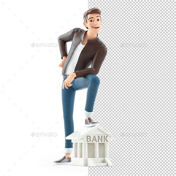 3D Cartoon Man Foot on Bank Building Icon