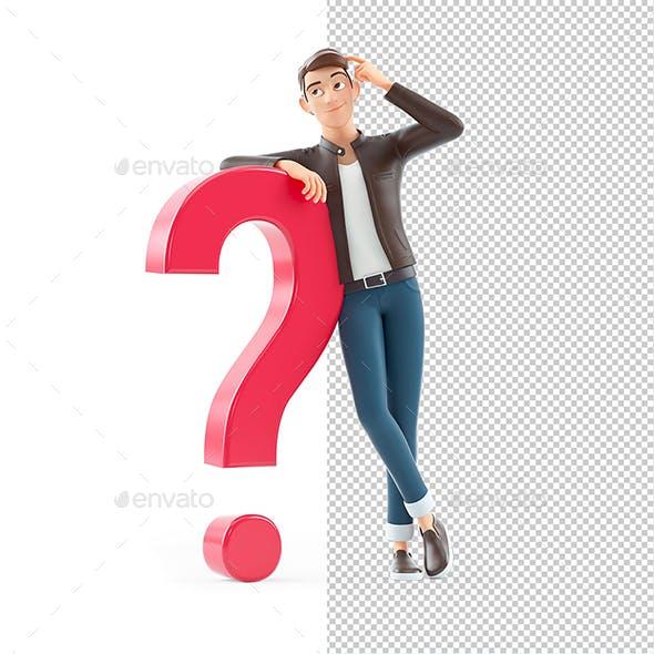 3D Cartoon Man Leaning Against Question Mark
