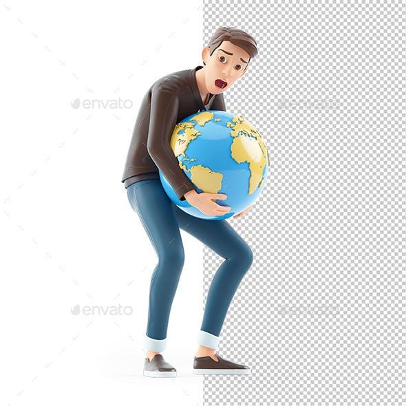 3D Cartoon Man Lifting Heavy Earth