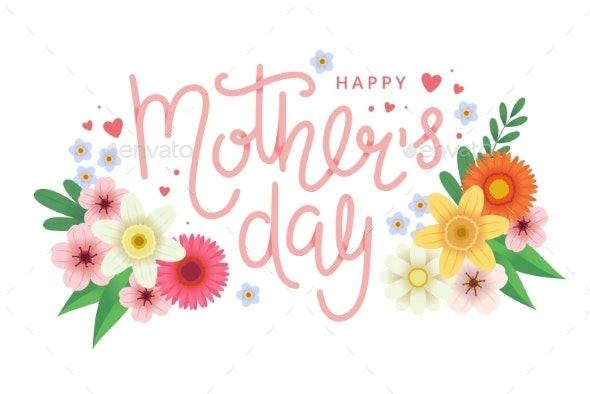 Mother s Day Greeting Card with Flowers - Miscellaneous Vectors