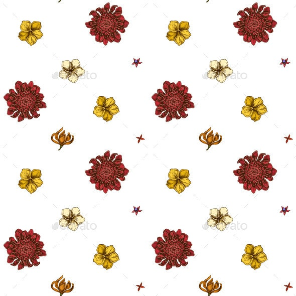 Seamless Pattern with Hand Drawn Colored Plumeria - Flowers & Plants Nature