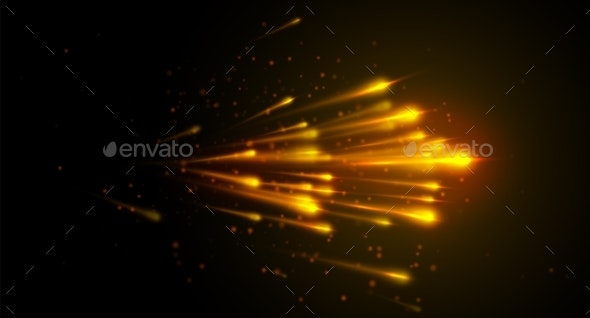 Light Speed Vector Background with Yellow Color - Technology Conceptual