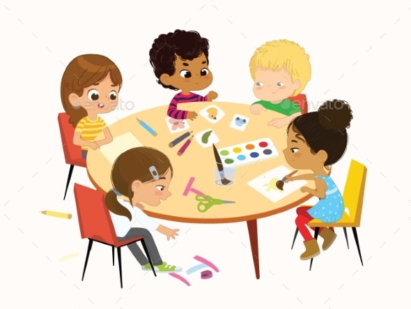 Kids Play Draw Pictures with Paints and Pencils - Miscellaneous Vectors