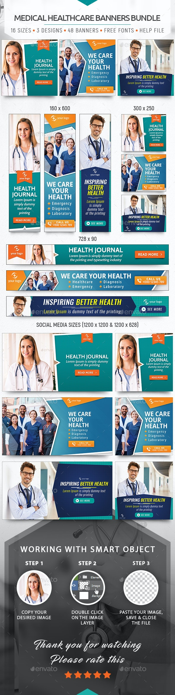 Medical Healthcare Banners Bundle - Banners & Ads Web Elements