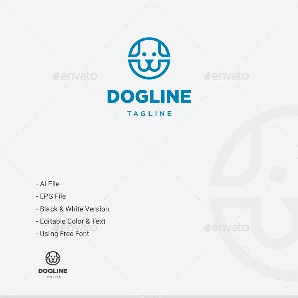 Dog line Logo - Circle