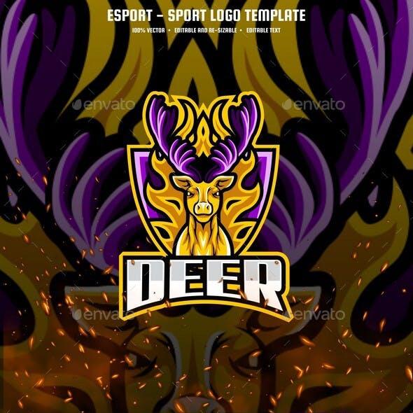 Deer E-sport and Sport Logo Template