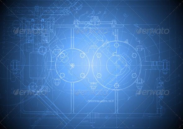 Hi-tech engineering drawing - Technology Conceptual