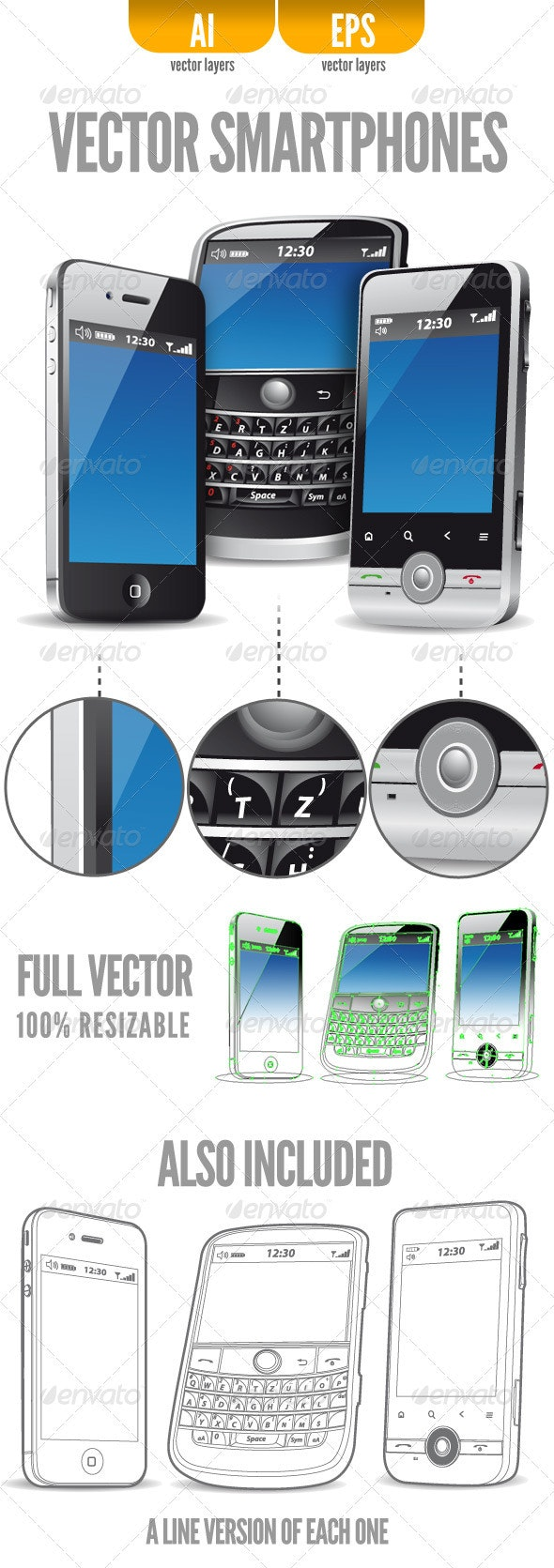 Three Vector Smartphones - Man-made Objects Objects