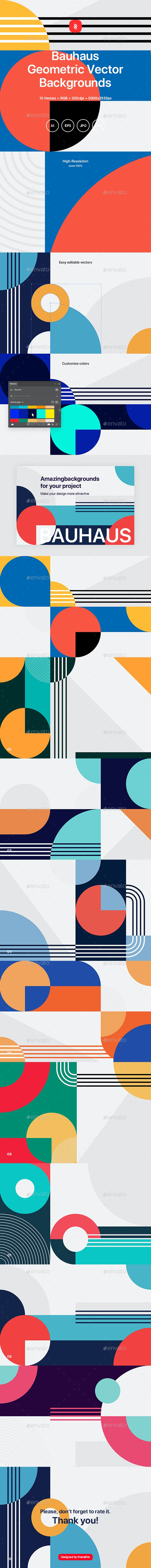 Bauhaus - Geometric Vector Backgrounds - Abstract Backgrounds