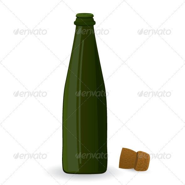 Open green bottle vector illustration
