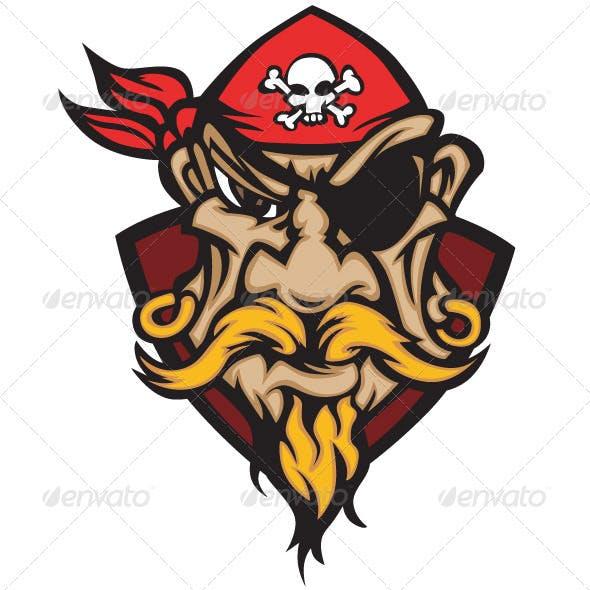 Pirate Mascot with Bandana Cartoon Vector Image