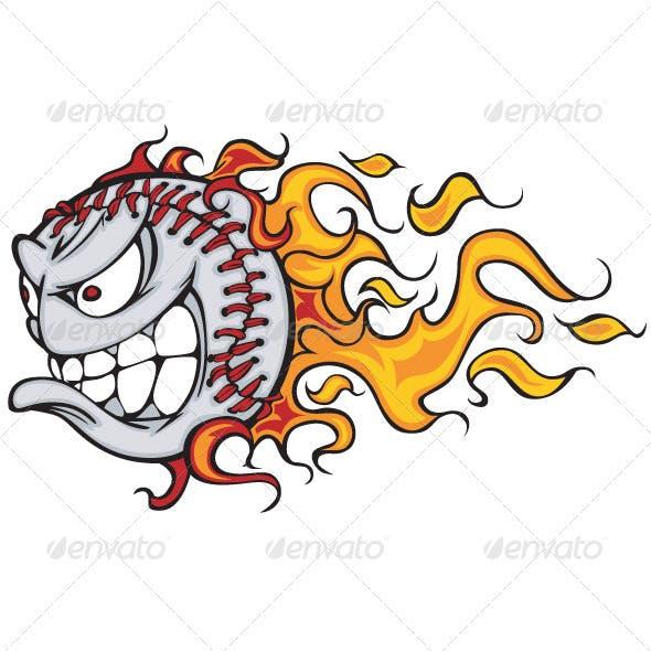 Flaming Baseball or Softball Face Vector Cartoon