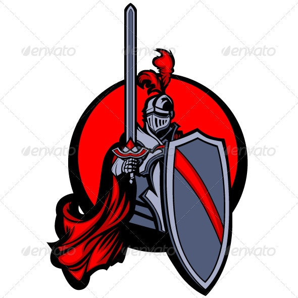Medieval Knight with Sword and Shield Vector Masco - People Characters