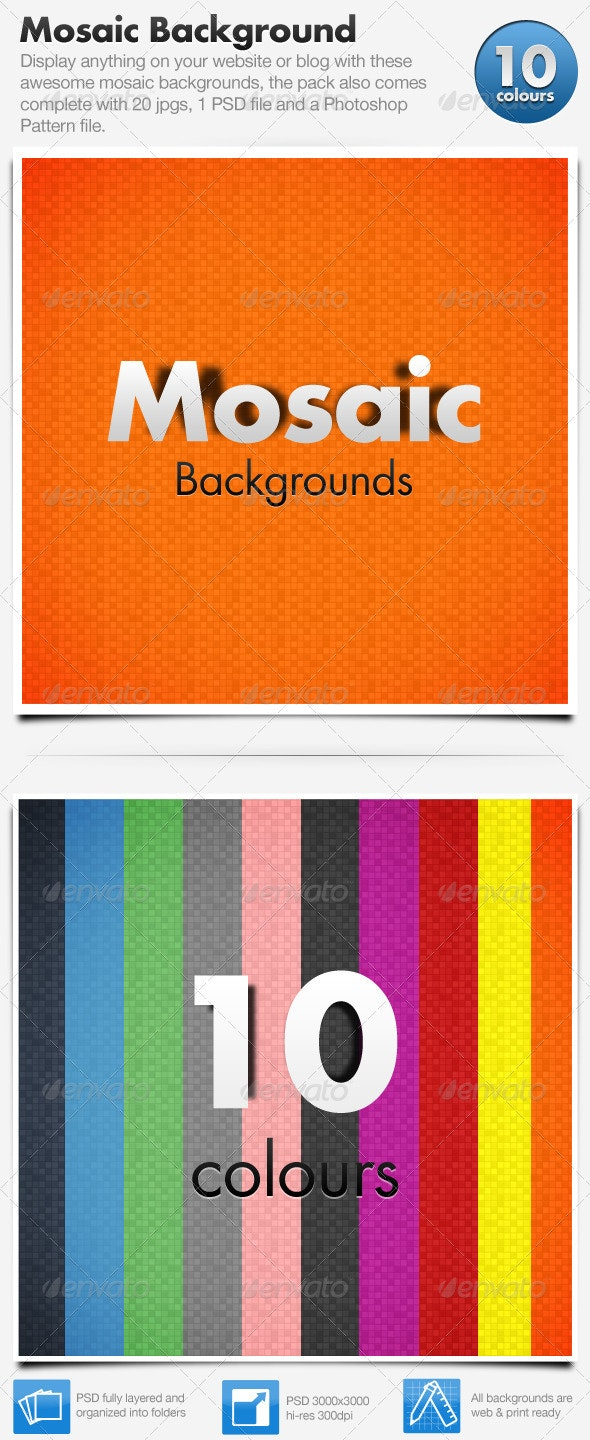 Mosaic Backgrounds x10 - Backgrounds Graphics