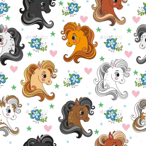 Seamless Vector Pattern with Pony Heads and