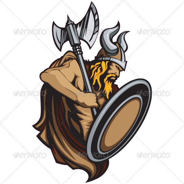 Viking Norseman Mascot Standing with Ax and Shield - People Characters