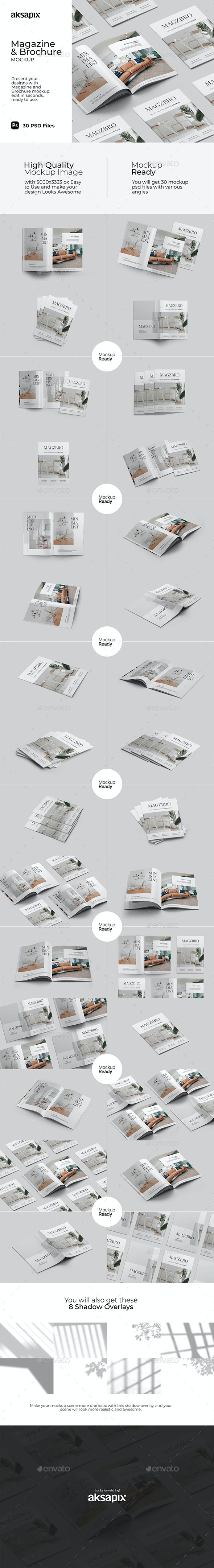 Magazine and Brochure Mockup - Print Product Mock-Ups