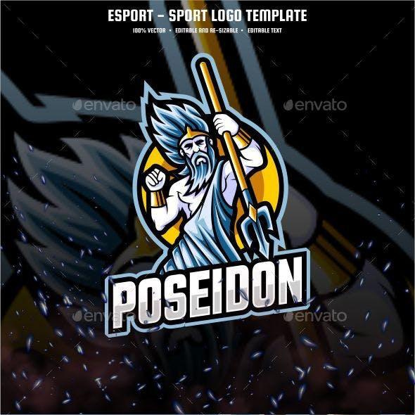 Poseidon E-sport and Sport Logo Template