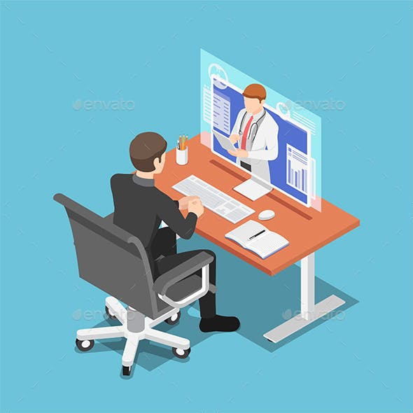 Isometric Businessman Video Conference with Doctor on PC Monitor